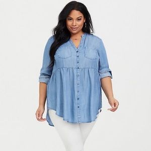 Torrid Chambray Babydoll Tunic Top Button Front 1X